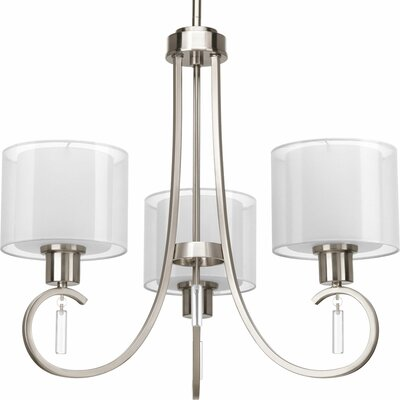 Ernestina 3-Light Shaded Chandelier Finish: Brushed Nickel