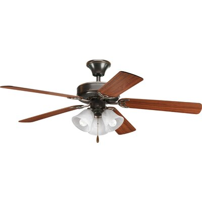52 Henaghan 5-Blade Ceiling Fan Finish: Antique Bronze with Walnut / Cherry Blades
