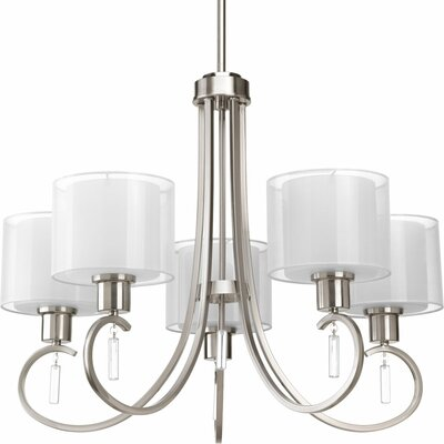 Ernestina 5-Light Shaded Chandelier Finish: Brushed Nickel