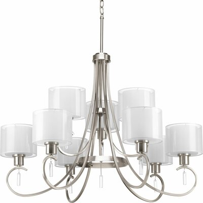 Ernestina 9-Light Shaded Chandelier Finish: Brushed Nickel