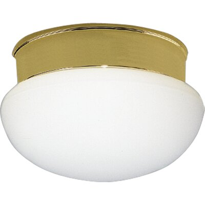 White Glass Platinum Mist Flush Mount Finish: Polished Brass