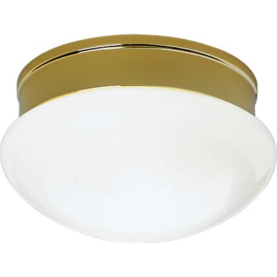White Glass 2-Light Flush Mount
