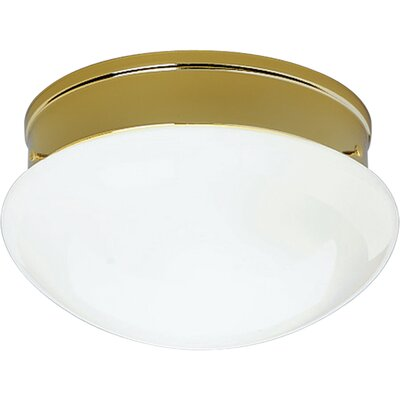 White Glass Golden Umber Flush Mount Finish: Polished Brass, Size: 5.25 H X 11.75 diameter