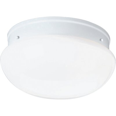 White Glass Golden Umber Flush Mount Finish: White, Size: 5.25H X 9.5 diameter