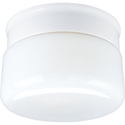 Bourne White Glass Snap-in Flush Mount