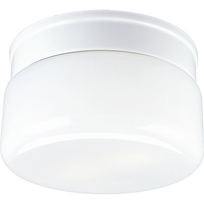 Glass White Snap-in Fitter 2-Light Flush Mount