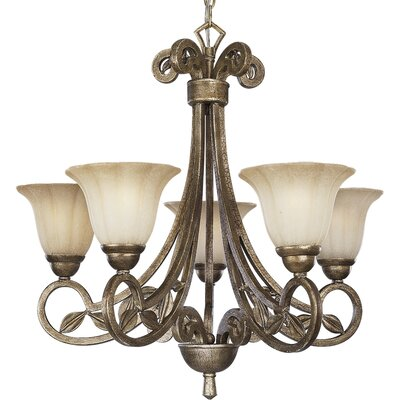 Triplehorn 5-Light Shaded Chandelier Finish: Biscay Crackle