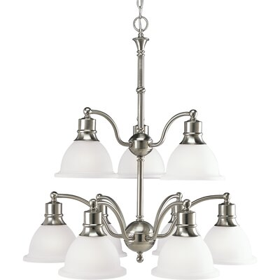 Gradall 9-Light Shaded Chandelier Finish: Brushed Nickel