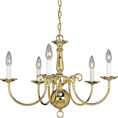 Americana 5-Light Candle-Style Chandelier Finish: Polished Brass