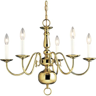 Doyle 5-Light Candle-Style Chandelier Finish: Polished Brass
