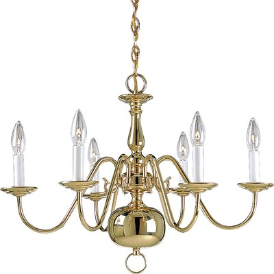Americana 6-Light Candle-Style Chandelier Finish: Polished Brass