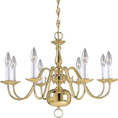 Americana 8-Light Candle-Style Chandelier Finish: Polished Brass