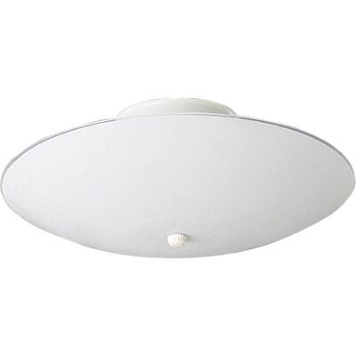 60w Round White Glass Semi Flush Mount Size: 5.5H X 12 diameter