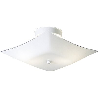60w Square White Glass Semi Flush Mount