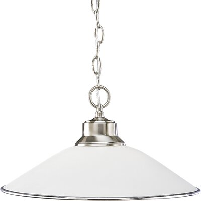 Bonneauville 1-Light Chain-Hang Pendant Finish: Brushed Nickel