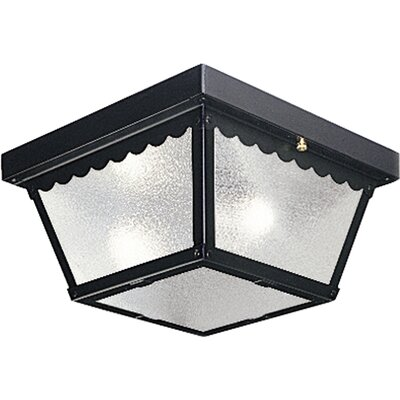 Reinhart Flush Mount Size: 9.25 W - 2 Bulbs, Finish: Black