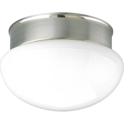 1-Light Semi Flush Mount Finish: Brushed Nickel, Size: 4.375 H  x 7.5 Diameter
