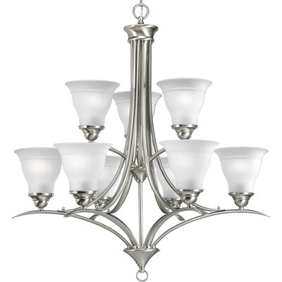 Trinity 9-Light Shaded Chandelier Finish: Brushed Nickel