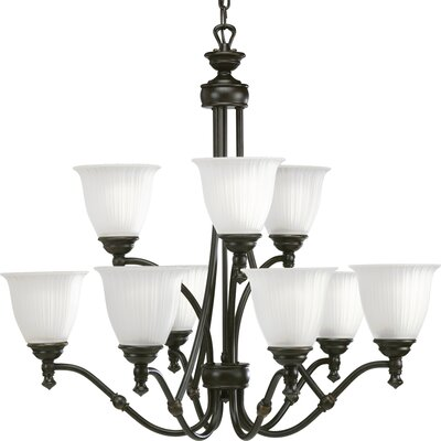 Renovations 9-Light Shaded Chandelier Finish: Forged Bronze