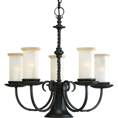 Jakes 5-Light Shaded Chandelier Finish: Forged Black