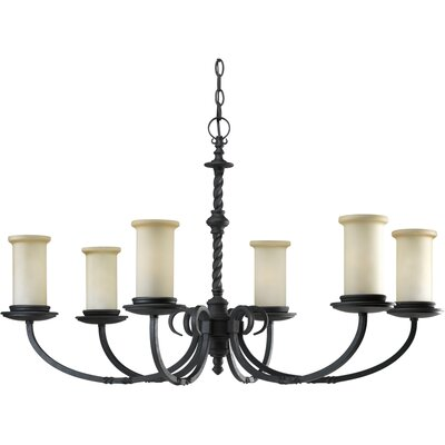 Santiago 6-Light Shaded Chandelier Finish: Forged Black