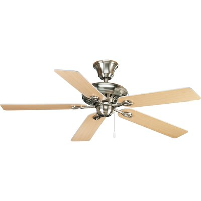 52 Foxburg 5-Blade Ceiling Fan Finish: Brushed Nickel with White / Natural Cherry Blades