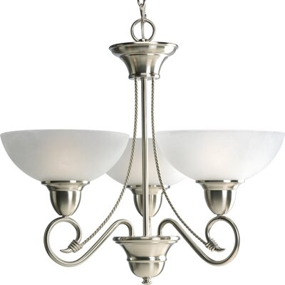 Adrienne Traditional 3-Light Shaded Chandelier Finish: Brushed Nickel