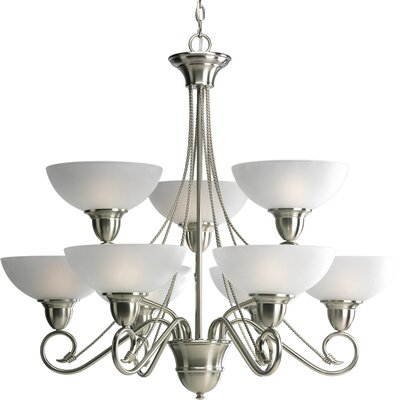 Pavilion 9-Light Shaded Chandelier Finish: Brushed Nickel