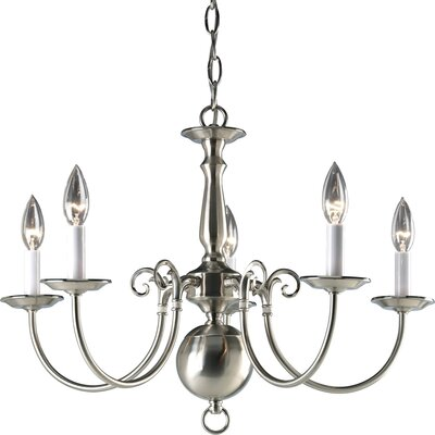 Doyle Traditional 5-Light Candle-Style Chandelier Finish: Brushed Nickel