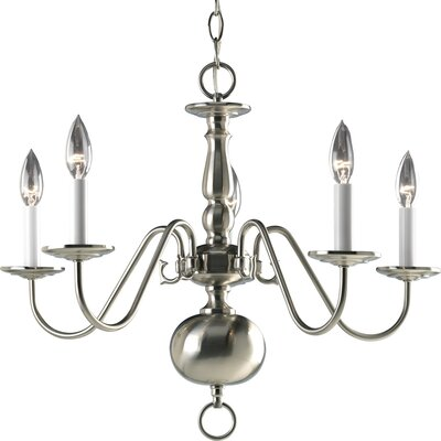 Americana 5-Light Candle-Style Chandelier Finish: Brushed Nickel