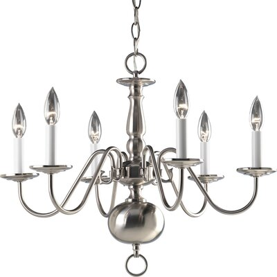Americana 6-Light Candle-Style Chandelier Finish: Brushed Nickel
