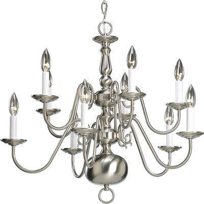 Doyle 10-Light Candle-Style Chandelier Finish: Brushed Nickel