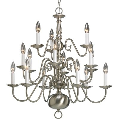 Americana 15-Light Candle-Style Chandelier Finish: Brushed Nickel