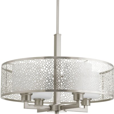 Keishasha 4-Light Drum Pendant Finish: Brushed nickel