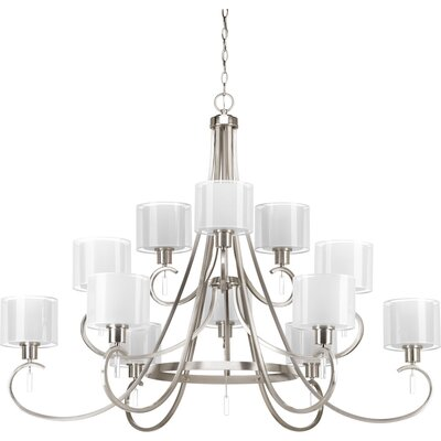 Invite 12-Light Shaded Chandelier Finish: Brushed Nickel