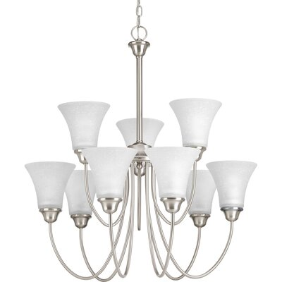 Adama 9-Light Shaded Chandelier Finish: Brushed Nickel