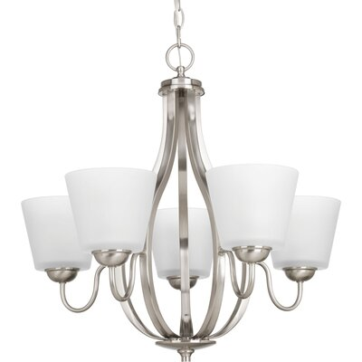 Arden 5-Light Shaded Chandelier Finish: Brushed Nickel