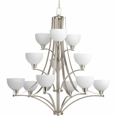 Pelovitz 12-Light Shaded Chandelier Finish: Brushed Nickel
