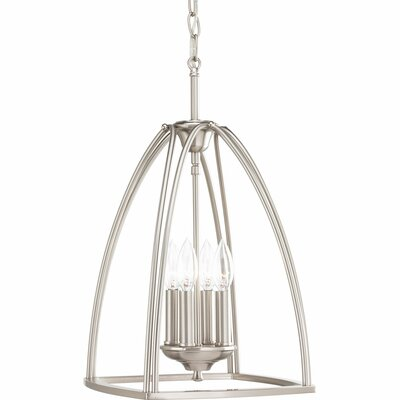 Tally 4-Light Foyer Pendant Finish: Brushed Nickel, Size: 19.25 H x 11.88 W