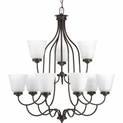 Keats 9-Light Shaded Chandelier Finish: Antique Bronze