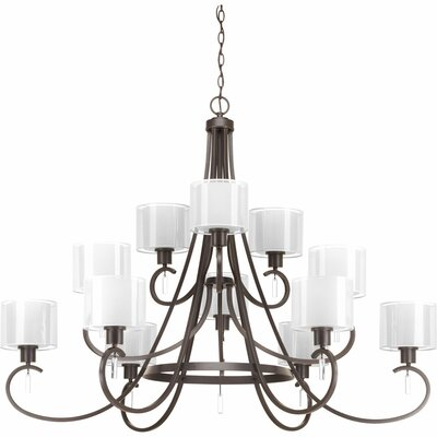 Ernestina 12-Light Shaded Chandelier Finish: Antique Bronze