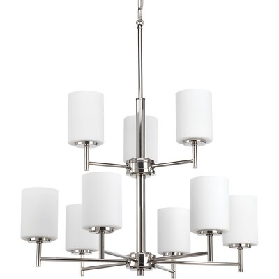 Clapton 9-Light Shaded Chandelier Finish: Polished Nickel