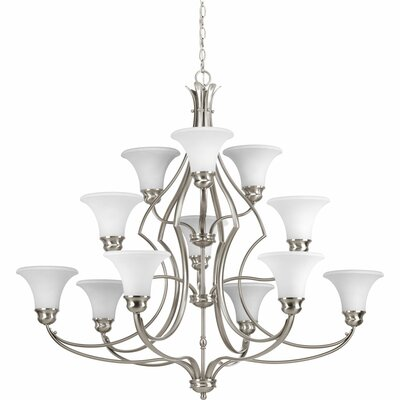 Rennie 12-Light Shaded Chandelier Finish: Brushed Nickel