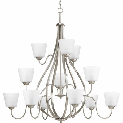 Gallo 12-Light Shaded Chandelier Finish: Brushed Nickel