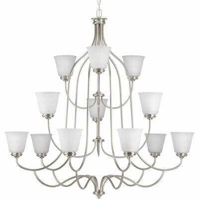 Keats 12-Light Shaded Chandelier Finish: Brushed Nickel