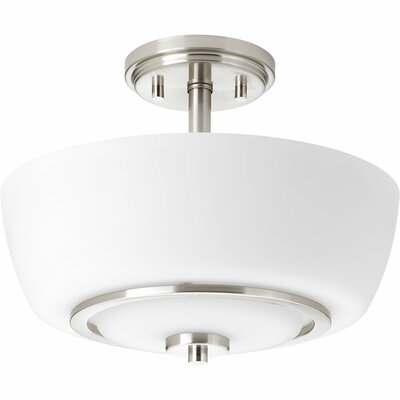 Angelinea 2-Light Semi-Flush Mount Finish: Brushed Nickel