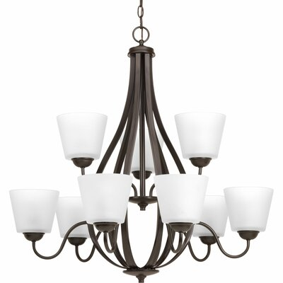 Arden 9-Light Shaded Chandelier Finish: Antique Bronze