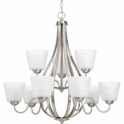 Arden 9-Light Shaded Chandelier Finish: Brushed Nickel