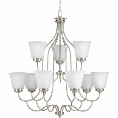 Pedroy 9-Light Shaded Chandelier Finish: Brushed Nickel