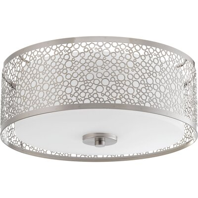 Mingle 1-Light Flush Mount Finish: Brushed Nickel, Size: 5.75 H x 14 W x 14 D